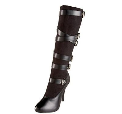 - Funtasma ARENA2030 Women's Black Microfiber Pu High Heel Buckled Knee Boot Size9