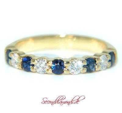 zarter halb Memory Diamantring 750 Gold Gelbgold 18 kt 0,63 ct Allianz Ring