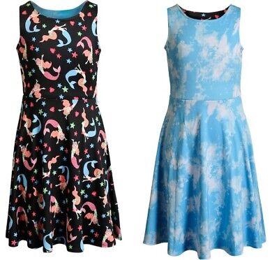 Girls Emily West 2 in 1 Reversible Skater Dress Mermaid Print 7 10 12 14 NWT - Dresses 10-12