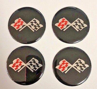 "Black Center Cap (CORVETTE STYLE Black CROSSED FLAG Wheel Center Cap STICKER EMBLEM DECAL 2"" Set )"