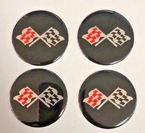 "CORVETTE STYLE Black CROSSED FLAG Wheel Center Cap STICKER EMBLEM DECAL 2"" Set"