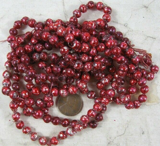 Vintage Mercury Glass Bead Garland Red 6 Foot 1/4""