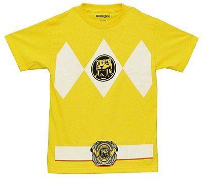 Power Ranger Kostüme Shirt (Mightyfine Mighty Morphin Power Rangers Gelb Erwachsene Halloween Kostüm T-Shirt)