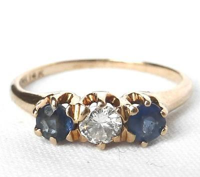 Vintage Art Deco 14k Rose Gold Sapphire+Diamond 3 Stone Anniversary Band Ring ()