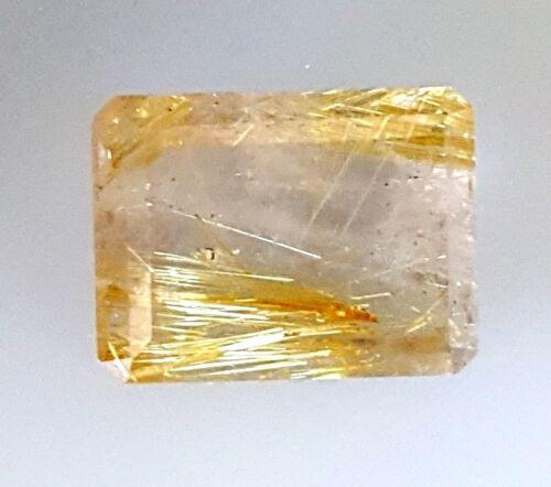 Natural Brazil Golden & Copper Rutilated Quartz 11ct Loose Gemstone Emerald Cut