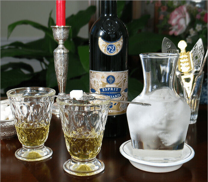 Complete Absinthe Set - 2 Glasses, 2 Spoons, Carafe, Saucer And Sugar Cubes