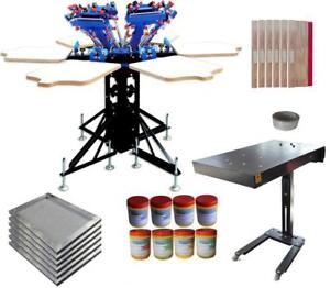 6 Color Screen Printing Press with Flash Dryer & DIY Materials Micro-adjust Kit 006971