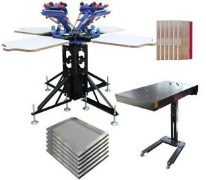 4 Color Screen Printing Kit Silk Screen Printing Press with Flash Dryer & Screen Frame 006989  Item number 006989
