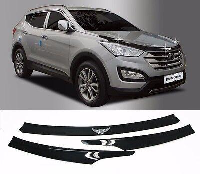 Black Bonnet Hood Guard Molding garnish For Hyundai Santa fe Sports 2013~2017