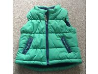 Green puffa gilet baby size 12-18 months
