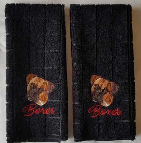 Boxer Dog Embroidered Hand Towels