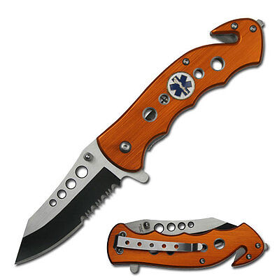 TAC FORCE ORANGE EMERGENCY EMT EMS ASSISTED RESCUE HANDY MEDICAL POCKET KNIFE