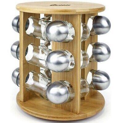 Especiero de madera Bambú ecologico 19x19x23cm,12 botes especias cristal y metal