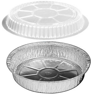 9 Round Foil Take-out Pan Wclear Dome Lid 100pk -diposable Aluminum Container