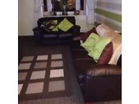 Brown leather sofas 3 and 2 seat