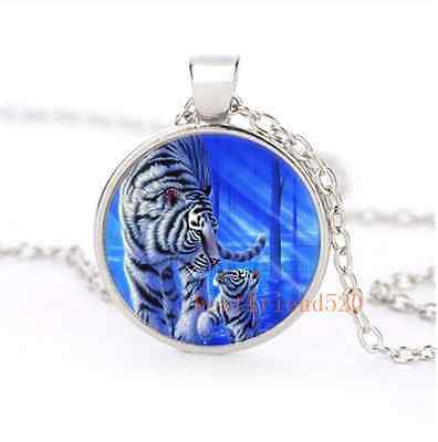 White Tiger with baby Cabochon Glass Silver Necklace Men Woman Jewelry