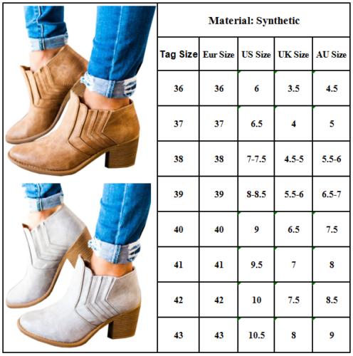 Damen Blockabsatz Ankle Boots Stiefeletten Stiefel Pumps Wedge Freizeit Schuhe