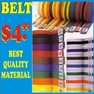 KARATE BELTS, SOLID OR STRI[PE.ALL COLOR AVAILABLE, SPECIAL DISCOUNT FOR SCHOOL, )(906) 364-0440 WWW.FIGHTPRO.CA