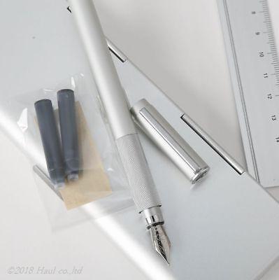 MUJI Aluminum Round Fountain Pen with 2 Cartridge Refill Ink Set Fine nib Japan