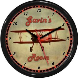 Vintage Red Airplane Bi Plane Personalized Wall Clock Child's  Room Man Cave