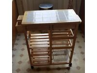 Pine Tile Top Kitchen Trolley Storage