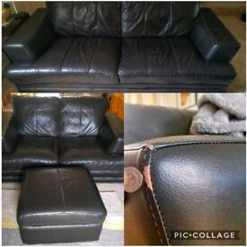 DFS Dark Brown Leather Sofas x2