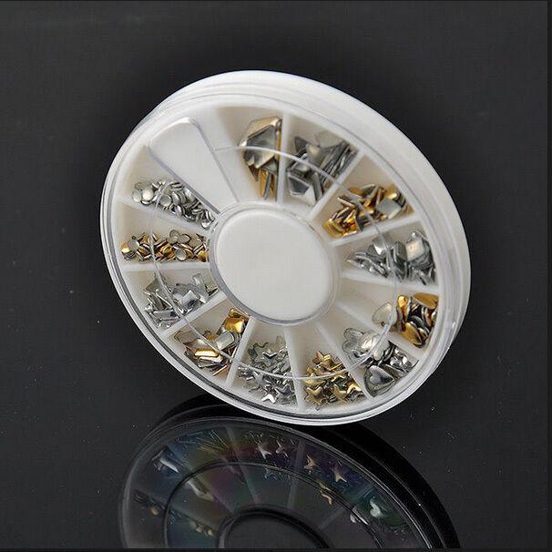 240Pcs Gold Silver 3D Metal Nail Art Tips Fashion Metallic Studs Stickers CN