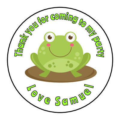 Cute Green Frog Personalised Thank You Sticker Party Sweet Cone Birthday  - Sweet Frog Birthday Party