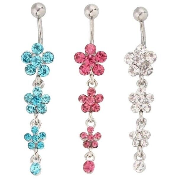 Belly Button Bar Bars Body Piercing Stainless Steel Navel Dangle Drop Xmas Gift