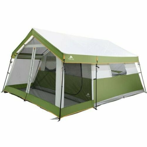 Ozark Trail 8-Person Family Cabin Tent 1 Room with Screen Porch, Green-Free Ship