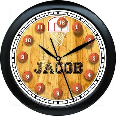 PERSONALIZED BASKETBALL WALL CLOCK  BOYS BEDROOM DECOR SPORT GIFT