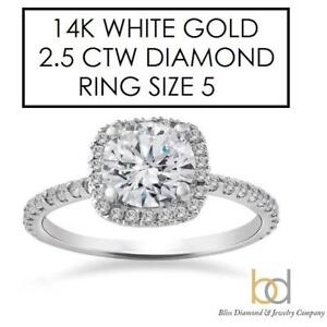 NEW* STAMPED 14K DIAMOND RING 5 146115784 JEWELLERY JEWELRY 14K WHITE GOLD 2.5 CTW BLISS DIAMOND