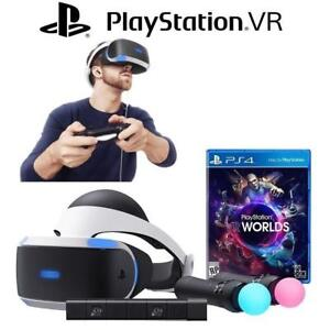 REFURB PLAYSTATION VR WORLDS BUNDLE CUH-ZVR1 142290236 LAUNCH SONY 4  VIRTUAL REALITY VIDEO GAMES REFURBISHED