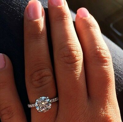 2.10ctw Natural Round Cut Authentic Pave Diamond Engagement Ring GIA Certified