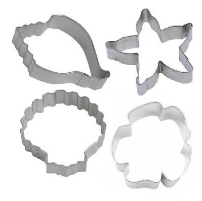 4 Piece Sand Dollar Conch Seashell Starfish Cookie Cutter Sea Life Nautical - Sand Dollar Cookies