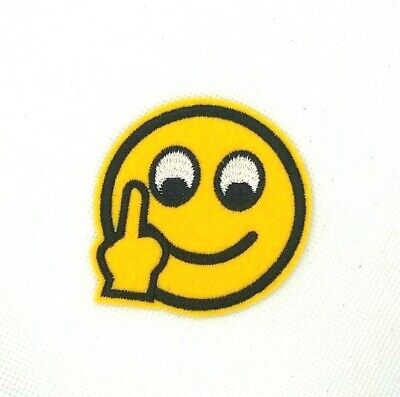 On Emoji (Middle Finger Emoji Patch Jacket Embroidered sew or Iron On Patches)