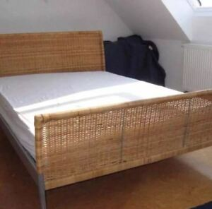 Ikea Wicker and Metal Bed Frame