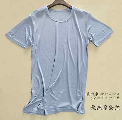 Купить 100% Silk Knitted Men's T-Shirts Casual Short Sleeve Crew Neck Sleepwear SG201