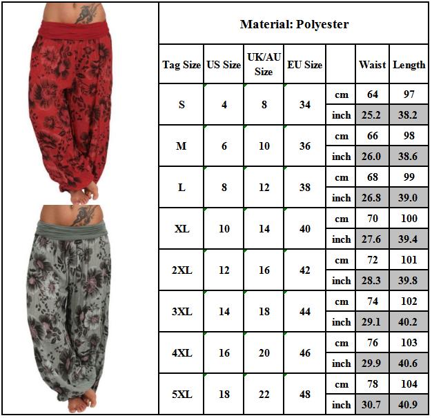Women Yoga Aladdin Harem Pants Gypsy Hippie Wide Leg Casual Trousers Plus Sizel Clothing, Shoes & Accessories