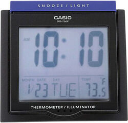 Casio DQ750F-1D Black LED Light Digital Alarm Desk Clock Thermometer Snooze NEW