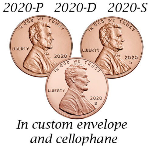 2020 P D S PDS Lincoln Cent Set PD BU Unc Coins Bank Rolls, S from Silver Proof