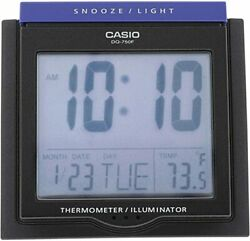 New Casio DQ750F-1D Black LED Light Digital Alarm Desk Clock Thermometer Snooze