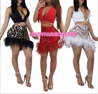 Neck Dress Set (New Women Feather Party Two Piece Sequin Set V-Neck Bandage Mini Dress)