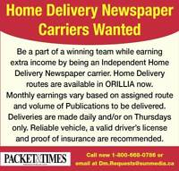 Home Delivery Newspaper Carriers Wanted  ORILLIA L3V