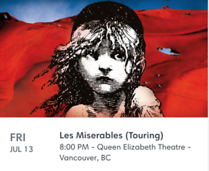 Les Miserables Tickets July 13 in Vancouver (2)