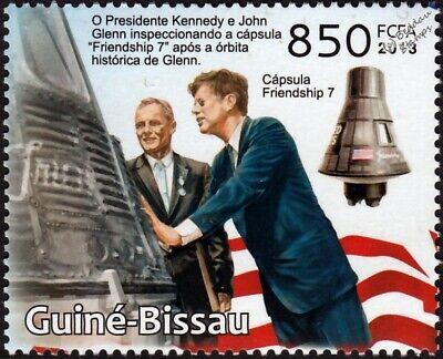 John F Kennedy Stamp - JOHN F.KENNEDY & John Glenn Friendship 7 NASA Space / USA President Stamp (2013)