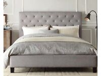barely used brand new double bed and mattress with large grey/purpley headboard