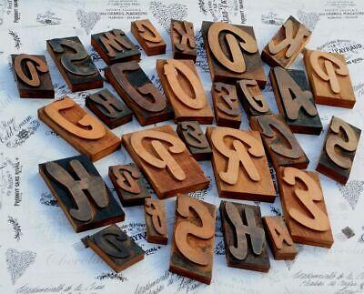 Set Of Letterpress Wooden Printing Blocks Wood Type Vintage Printer Letters Old