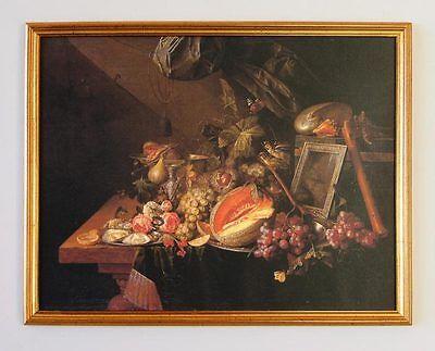 C. de Heem Stilleben Früchte Auster Blumen flä Maler Faks auf Leinwand 3L Rahmen