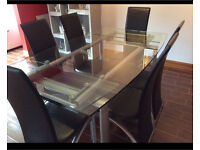 Glass Extendable Dining Table Leather Chairs Can Deliver